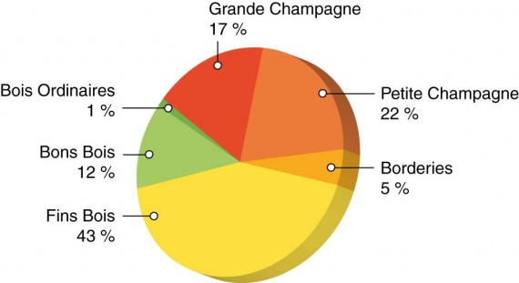 Répartition de la production de Cognac par cru
